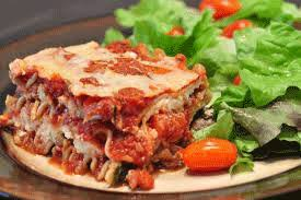 lasagna and salad